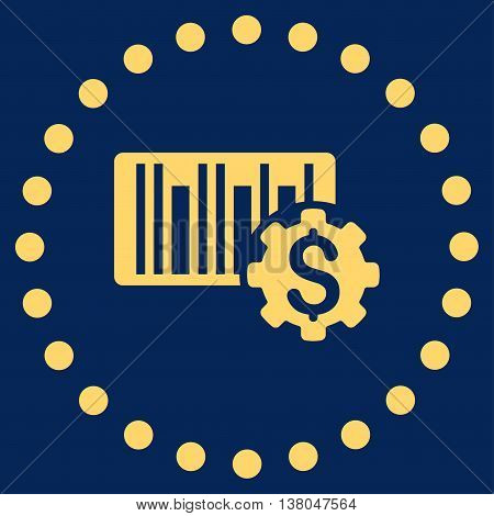 Barcode Price Setup vector icon. Style is flat circled symbol, yellow color, rounded angles, blue background.