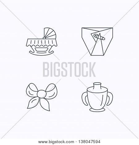Baby mug, diapers and cradle bed icons. Bow linear sign. Flat linear icons on white background. Vector