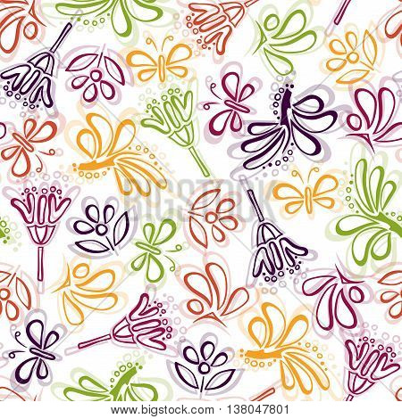 Vector seamless pattern with colorful doodle flowers, leaves and butterfly