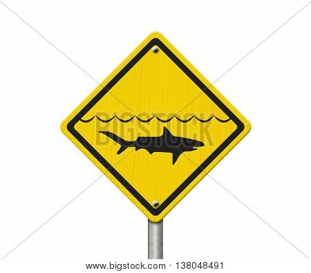 Yellow Shark Warning Sign Red Yellow Warning Sign with symbol of shark and water isolated on white, 3D Illustration