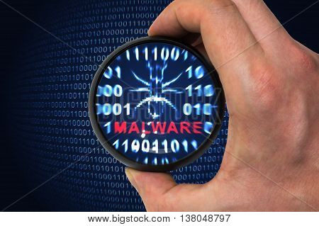 Computer security concept. Malware alert inside magnifying glass in binary code.