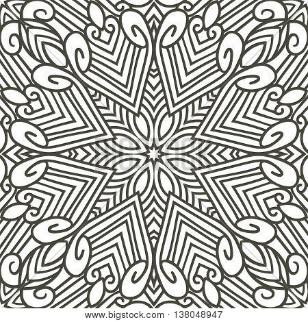 Abstract monochrome hand drawn seamless pattern. Vector abstract ornament with lines, star and swirls