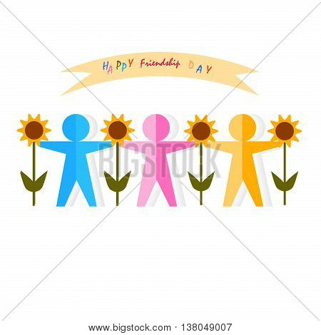 Abstract multicolor paper people silhouette. Vector logo friendship design template. Concept partnership teamwork creativity friendship business cooperation sport team. Friendship paper team.