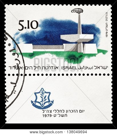 ISRAEL - CIRCA 1979 : Cancelled postage stamp printed by Israel, that shows  Navy Memorial in Ashdod.