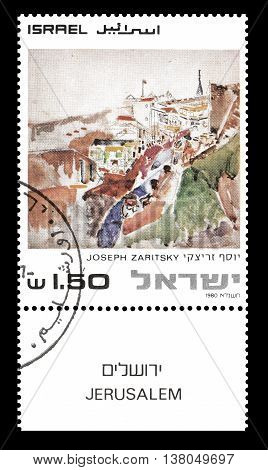 ISRAEL - CIRCA 1980 : Cancelled postage stamp printed by Israel, that shows painting by Joseph Zaritsky.