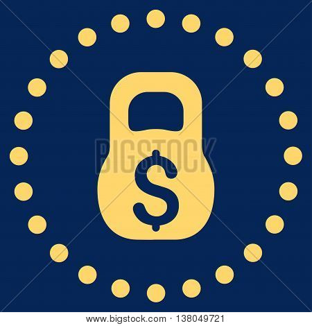 Financial Weight vector icon. Style is flat circled symbol, yellow color, rounded angles, blue background.