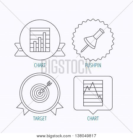 Pushpin, graph charts and target icons. Supply and demand linear signs. Award medal, star label and speech bubble designs. Vector