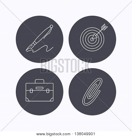 Briefcase, safety pin and target icons. Pen linear sign. Flat icons in circle buttons on white background. Vector