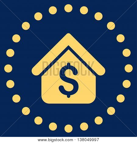 Loan Mortgage vector icon. Style is flat circled symbol, yellow color, rounded angles, blue background.
