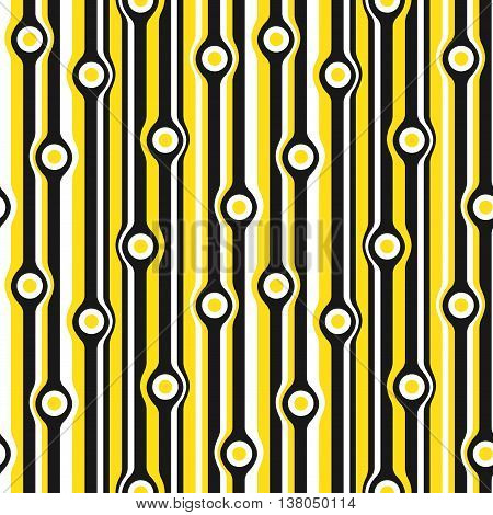 Vector geometric seamless pattern. Seamless pattern with colored vertical yellow lines wraps around circles
