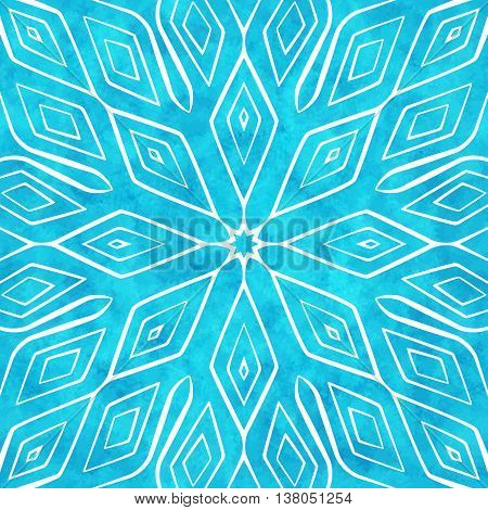 Abstract geometric seamless pattern with white ornament on the blue watercolor textured background