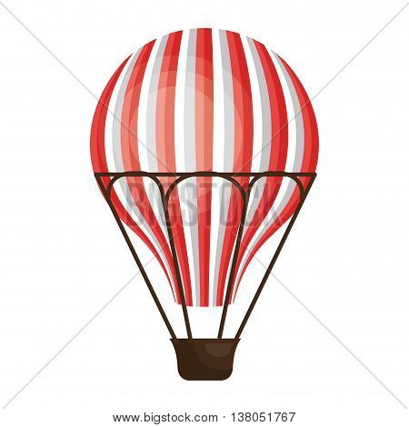 Red hot air balloon flying, isolated flat icon vector illustration graphic.
