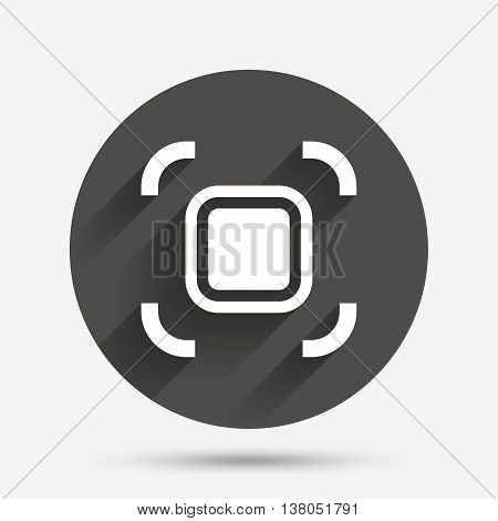Autofocus zone sign icon. Photo camera settings. Circle flat button with shadow. Vector