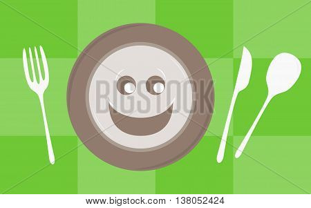 Plate with smile and set of cutlery on green checked tablecloth. Vector illustration.