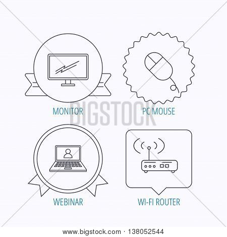Wi-fi router, pc mouse and monitor tv icons. Webinar linear sign. Award medal, star label and speech bubble designs. Vector