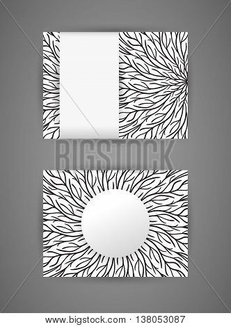 Vector business card design template with abstract hand drawn round monochrome pattern