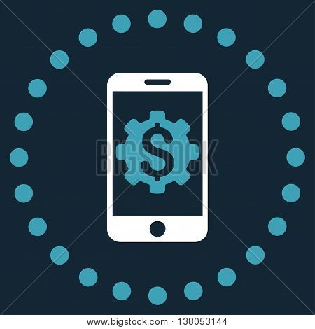 Mobile Bank Setup vector icon. Style is bicolor flat circled symbol, blue and white colors, rounded angles, dark blue background.