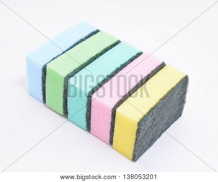 sponges for dishwashing isolated on a white background