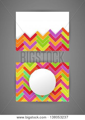 Vector business card design template with abstract zigzag colorful pattern