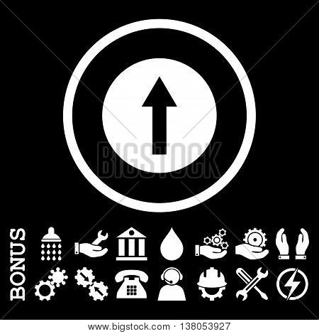 Up Rounded Arrow vector icon. Image style is a flat pictogram symbol inside a circle, white color, black background. Bonus images are included.