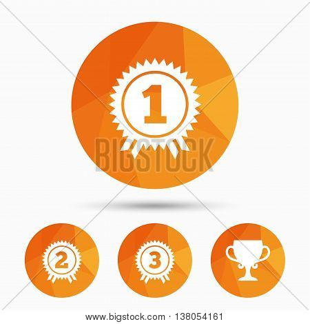 First, second and third place icons. Award medals sign symbols. Prize cup for winner. Triangular low poly buttons with shadow. Vector