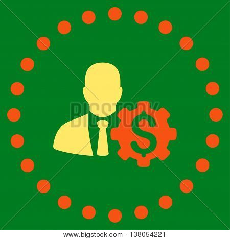 Banker Options vector icon. Style is bicolor flat circled symbol, orange and yellow colors, rounded angles, green background.