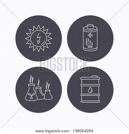 Solar energy, battery and oil barrel icons. Industries linear sign. Flat icons in circle buttons on white background. Vector