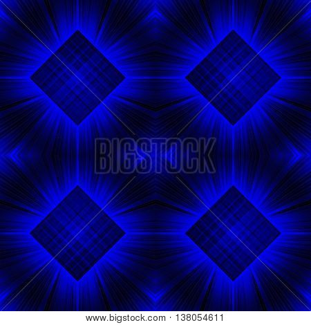 3d illustration. Seamless radiant background c checkered squares. Three-dimensional luminous psychedelic space. Regular pattern.