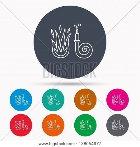Fire hose reel icon. Fire station sign. Icons in colour circle buttons. Vector