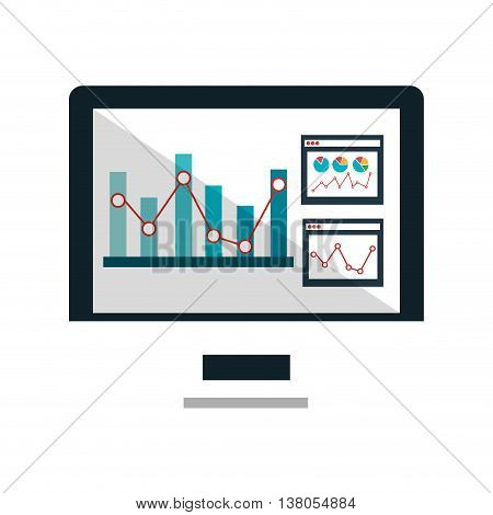 Statistics and graphics information graphic design, vector illustration icon.