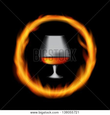 Glass Collector 50 year-old French Cognac on Background of Burning Fireplace Fire. Vector Illustration. EPS10