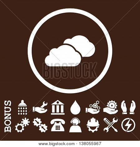 Clouds vector icon. Image style is a flat pictogram symbol inside a circle, white color, brown background. Bonus images are included.