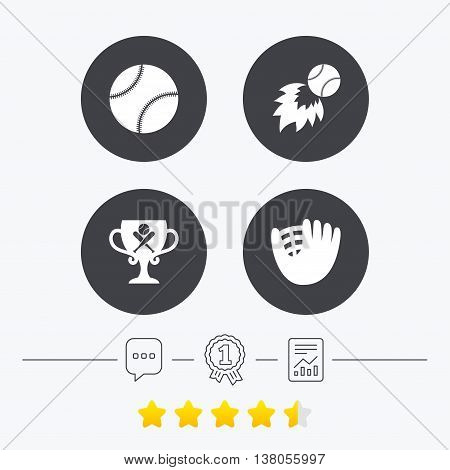 Baseball sport icons. Ball with glove and two crosswise bats signs. Fireball with award cup symbol. Chat, award medal and report linear icons. Star vote ranking. Vector