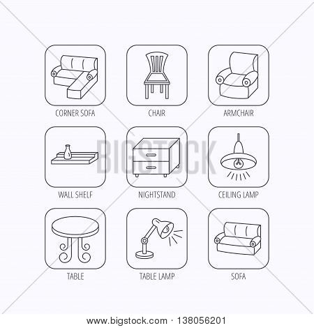 Corner sofa, table and armchair icons. Chair, ceiling lamp and nightstand linear signs. Wall shelf furniture flat line icons. Flat linear icons in squares on white background. Vector