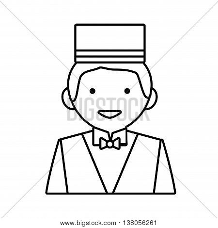 Hotel service concept represented by bellboy icon. Isolated and flat illustration