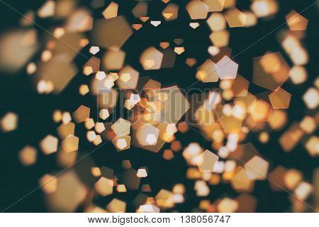 pentagon bokeh , light bokeh . Christmas wallpaper decorations concept.holiday