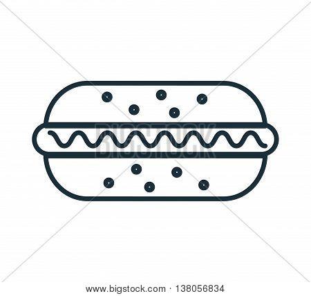Delicious food hotdog icon, gastronomy theme desifn vector illustration graphic.