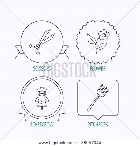 Scissors, flower and pitchfork icons. Scarecrow linear sign. Award medal, star label and speech bubble designs. Vector