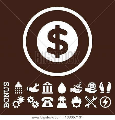 Finance vector icon. Image style is a flat pictogram symbol inside a circle, white color, brown background. Bonus images are included.
