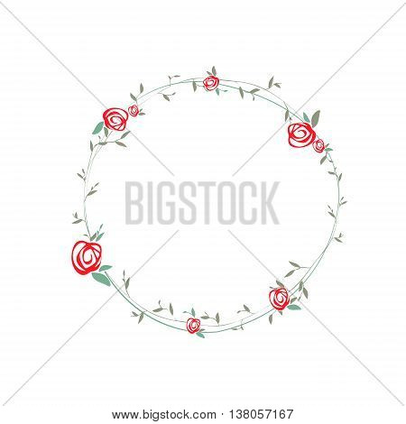 Simple Rose Round Wreath With Leaves Design Copyspace