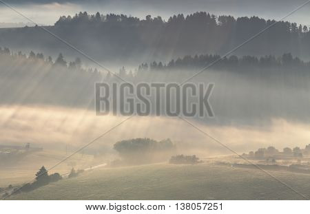 Sunlight rays shines through mist, mountain landscape