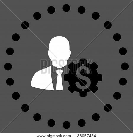 Banker Options vector icon. Style is bicolor flat circled symbol, black and white colors, rounded angles, gray background.