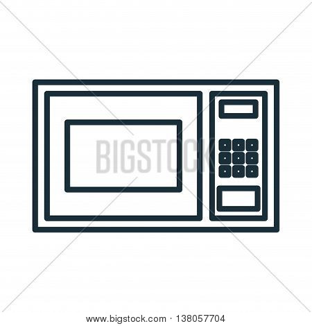 Home appliance microwave isolated flat icon, vector illustration graphic.
