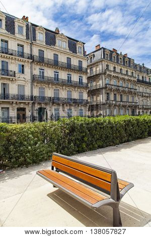 View at bench in front of buildings at Montpellier France