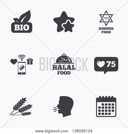 Natural Bio food icons. Halal and Kosher signs. Gluten free and star of David symbols. Flat talking head, calendar icons. Stars, like counter icons. Vector