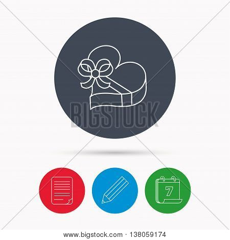 Love gift box icon. Heart with bow sign. Calendar, pencil or edit and document file signs. Vector