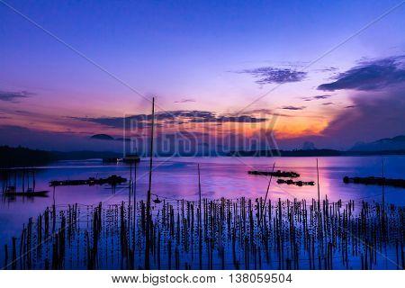 The Oyster Farms at Fisherman village at Samchong-tai Phang Nga Thailand