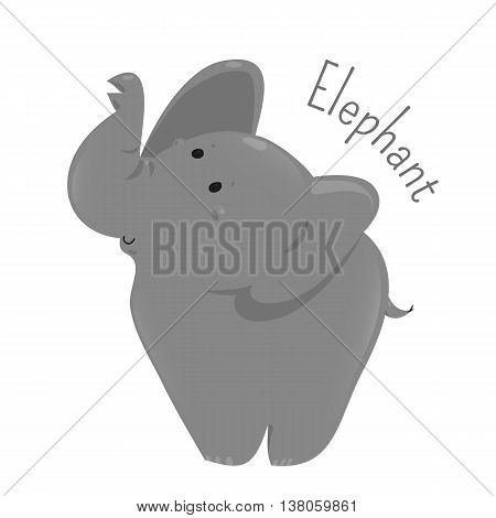 Elephant isolated on white background. Large mammals of family Elephantidae and order Proboscidea. Part of series of cartoon savannah animal species. Sticker for kids. Child fun pattern icon. Vector