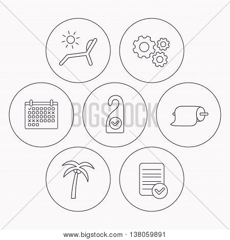 Palm tree, paper towel and beach deck chair icons. Clean room linear signs. Check file, calendar and cogwheel icons. Vector