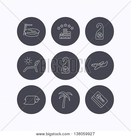 Hotel, swimming pool and beach deck chair icons. E-key, do not disturb and clean room linear signs. Paper towels, palm tree and airplane icons. Flat icons in circle buttons on white background. Vector